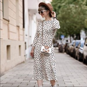 H&M Polka Dot Open Back Midi Casual Dress